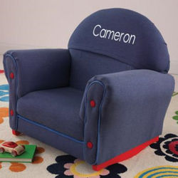 Personalized Upholstered Denim Rocking Chair for Kids