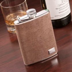 Personalized Suede Leather Flask