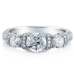 3-Stone Round Cut Cubic Zirconia Sterling Silver Ring