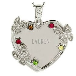 5 Austrian Crystal Birthstones and Butterfly Engravable Pendant