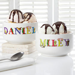 Alphabet Animals Personalized Snack Bowl