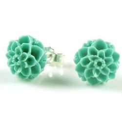 Carved Coral Blue Chrysanthemum Stud Earrings