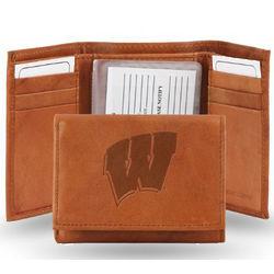 Wisconsin Badgers Top Grain Pecan Brown Leather Trifold Wallet
