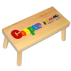 Personalized Name Puzzle Stool with Toy Car Carrier