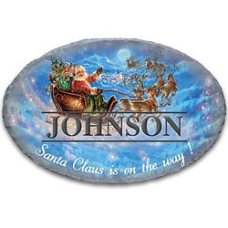 Santa in His Sleigh Personalized Oval Welcome Sign