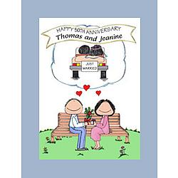 "Personalized Anniversary ""Just Married"" Memories Cartoon"
