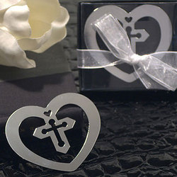 Heart Cross Bookmark Favor
