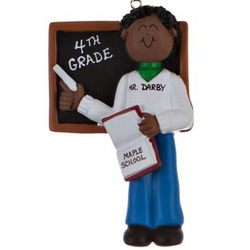Personalized Ethnic Male Teacher Christmas Ornament