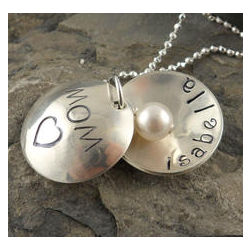 Mom's Heart Locket Personalized Hand Stamped Necklace