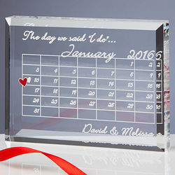 The Day We Said I Do Personalized Wedding Calendar Plaque