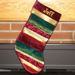 Holiday Treasures Velvet and Ribbon Christmas Stocking