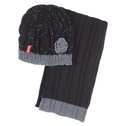 Black to Basics Hat and Scarf Set