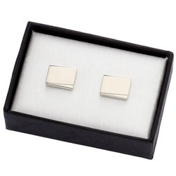 Personalized Silver Metal Cufflinks with Beveled Edge