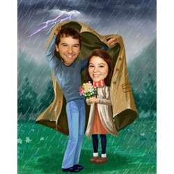 Personalized Caught in a Storm Caricature Art Print