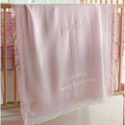 Personalized Woven Cross Pink Baby Blanket