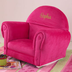 Personalized Kid's Pink Upholstered Rocking Chair