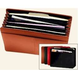 Leather Divided Accordion File Folder