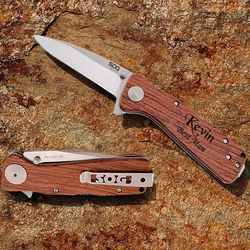 Personalized XL Folding Knife with Rosewood Handle