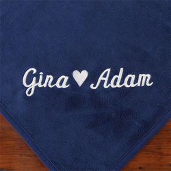Warmth of Love Couple's Blue Personalized Blanket
