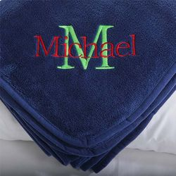 Kid's Personalized Navy Blue Fleece Blanket