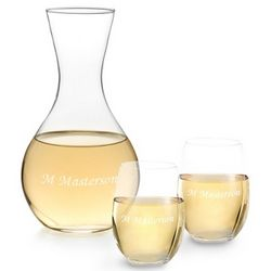 Handblown Decanter with Stemless Wine Glasses