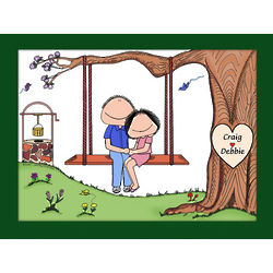 Personalized Couple on a Swing Cartoon