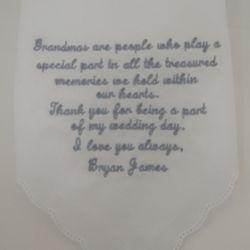 Grandma Wedding Day Thank You Personalized Hanky