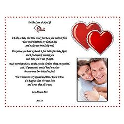 Two Hearts Personalized Love Poem Print