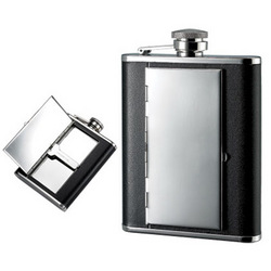 Personalized 6 Oz Flask with Cigarette Case Holder