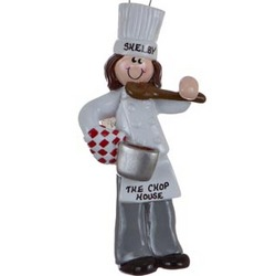 Brunette Female Chef Personalized Christmas Ornament