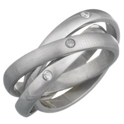 Ladies Stainless Steel CZ Triple Roll Ring
