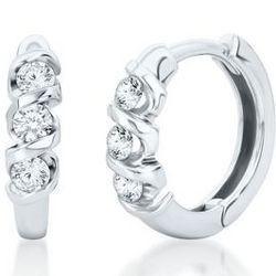 Hoop Three-Diamond Earrings