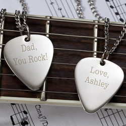 Personalized Silver Guitar Pick Necklace