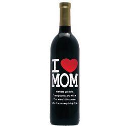 I Heart Mom Personalized Wine Bottle