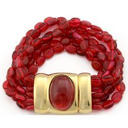 Six Strand Ruby Bead Bracelet