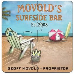 Personalized Coaster Puzzle Set with Surfside Image