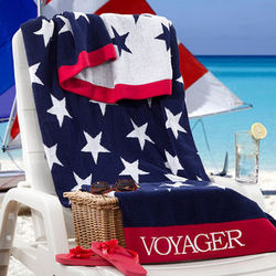 Personalized Patriotic Stars Beach Towel