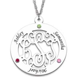 Sterling Silver Family Monogram Birthstone Necklace