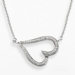 Sterling Silver Diamond Sideways Heart Necklace