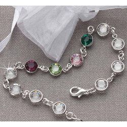 Sterling Silver Swarovski Custom Birthstone Bracelet