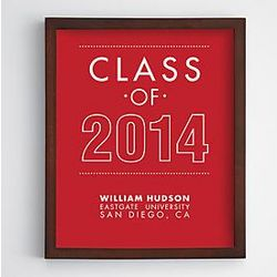 Personalized Class of 2014 Framed Red Canvas Wall Art