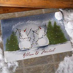 Snow Couple Watercolor Art Personalized Doormat