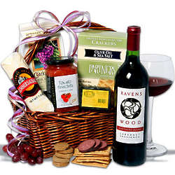 Red Wine and Cheese Gift Basket