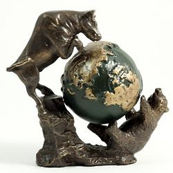 Bull and Bear Battle for the World Sculpture