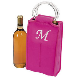 Personalized Hot Pink Two Bottle Wine Tote