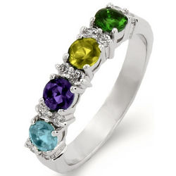 Close to the Heart 4-Stone Birthstone Engravable Eternity Band