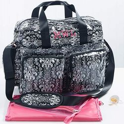Damask Embroidered Monogram Diaper Bag