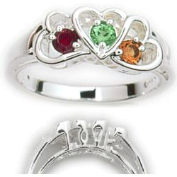 Sterling Silver Daughter's Heart Birthstone Ring