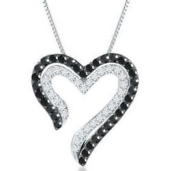 Heart-Shaped Black and White Diamond Necklace