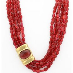 Six Strand Ruby Bead Necklace